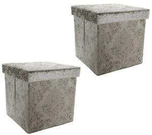 Casa Zeta-Jones Set of 2 Velvet Damask Storage Ottomans - Swedish Grey - H214176