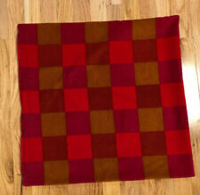 Ikea 22x22 Colorful Velvet Checkered Pillow Cover Brown Red Burgandy