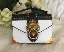 Metal Lion Head CROSSBODY European Shoulder Bag White Black Gold Handbag Purse