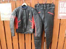 "VINTAGE Lewis Leathers due pezzi Biker Suit-Taglia 40 UK giacca-pantaloni girovita 34"""