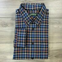 Orvis Men's Blue Orange Check Plaid Long Sleeve Button Down Shirt Size XL