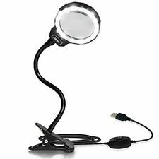 Magnifying Glass, LED 3X Magnifying Lamp USB Powered Clip On Optical Glass Magni
