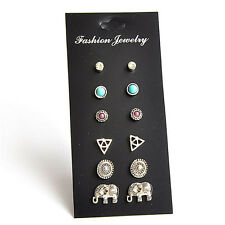 6Pairs Fashion Women Retro Triangle Elephant Turquoise Earrings Stud Jewelry HI