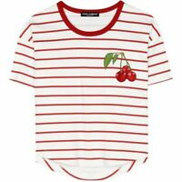 Women's Dolce & Gabbana Cherry Patch Striped T-Shirt White Red Size IT 40 Rare