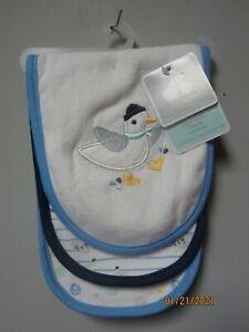 Gerber Just Born Baby Boy 3-Piece Blue Duck/Seal Burp Cloths