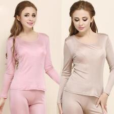 Women 100% Silk Thermal Underwear Crew Neck Tops+ Long Johns Pants Pajama Sets