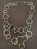 Mickey Mouse Necklace Marked Disney Silver Tone Two Stranded Mouse Ears Vintage