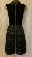 Ted Baker Black Dasia Deco Sparkle Print Gold Zip Ascot Party Dress 2 UK 10 38