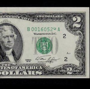 1976 New York $2 Federal Reserve Note Stuck Digit Error Choice AU+