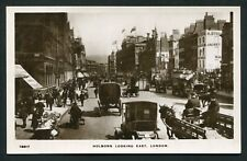 Holborn looking East London real photo busy street horse cart vintage postcard