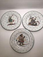 3 SAKURA DEBBIE MUMM STONEWARE CHRISTMAS PLATES 8 1/8'' SANTA, BEAR AND SNOWMAN