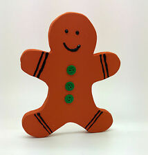 GINGERBREAD MAN PAINTED WOOD FIGURE CHRISTMAS DECORATION SHABBY CHIC HOME