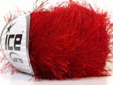 Absolutely Red Eyelash Yarn Ice Solid Red Fun Fur 22762 50 Gram 80 Yards