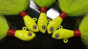 5 Ultra Minnow Bucktail Jigs Head Striper Fluke Bass Economy Teaser Lure - Char