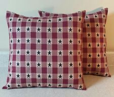 2 Americana star primitive pillow covers shams burgundy blue homespun 14x14