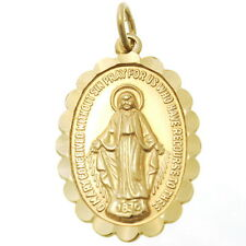 FRILLED 9CT GOLD MIRACULOUS MARY MEDAL PENDANT NECKLACE - MADONNA MEDAL