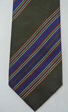 AQUASCUTUM silk twill jacquard striped tie England dk olive green blue multi