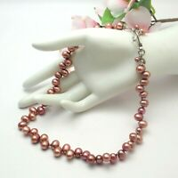 "Fine Mauve Baroque Genuine Pearl Sterling Silver Crystal 20"" Necklace By Zenia"