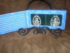 Longaberger Set of 2 Snow Friends Pewter Ornaments - New in Box