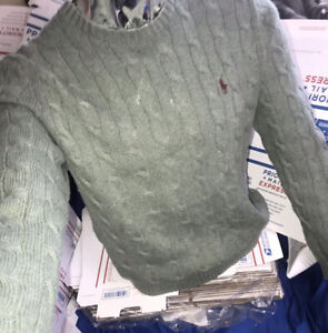 Mens Polo By Ralph Lauren Green Chunky Knit Crewneck Sweater Sz.M BIG🔥