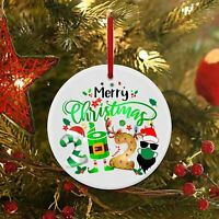Merry Christmas 2020 Paper Roll Santa Hat Quarantine Ceramic Christmas Ornament