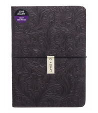 WHSmith 2019 A5 Brown Floral Pattern PU Diary Day to Page Case Bound