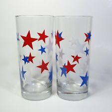 "Set of 2 Tumblers Red White & Blue Stars Patriotic 6.25"" Glass Tumbler Glasses"
