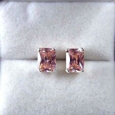 5.34ct Lolly Pink Cubic Zirconia 925 Sterling Silver Stud/Post Earrings