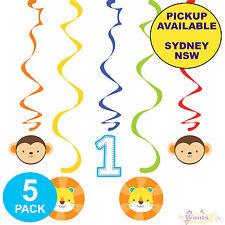 Jungle Animals Boys 1st Birthday Party Supplies 5pk Hanging Swirl Decorations