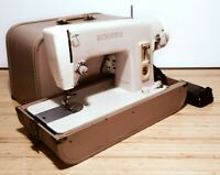 Singer 293B Sewing Machine W Pedal Power Cord Case Vintage France Tested & Works