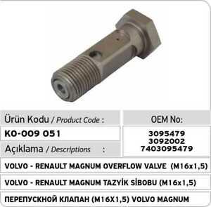 3095479 Volvo - Renault Magnum Over Flow Valve 3092002 7403095479