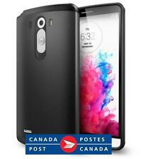 LG G3 Case Cover Dual Layer Slim Armor Heavy Duty Black Metal + Screen Protector