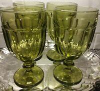 Libbey Duratuff 4 Gibraltar Goblets Olive Glass Pedestal Footed 7 inch 16oz