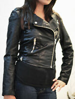 NEW Womens BIKER JACKET CROP ZIP FAUX LEATHER Ladies Coat Size 8 10 12 14 16