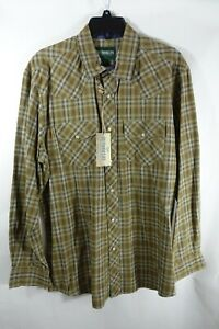 Men Shirt Medium Snap Button Up Chest Pockets Western Outdoor Life Brown Beige