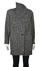 ISABEL MARANT 100% Alpaca Funnel Neck Gray Tweed Jacket Coat SIZE 4-6