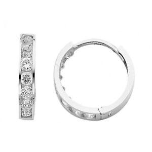 Round Simulated Diamond Huggies Hoop Unisex 3mm Earrings 14K Solid White Gold