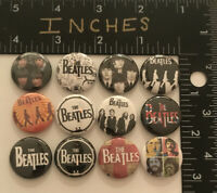 The Beatles 1 Inch Pin Set 12 Pins John Paul Classic Rock English Badge Button X
