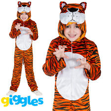 Girls & Boys Tiger Costume World Book Day Week Fancy Dress Outfit Jumpsuit