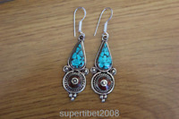 ER165 Tibetan Copper Turquoise Stone Water Drop Earring for Lady Dangle Earrings