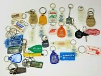 Vintage Set of 33 Keychains Car Plastic Metal Rubber Printing Clic Ring Auto Gas