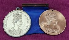 QUEEN ELIZABETH II MEDALLIONS CORONATION 1953 AND ROYAL VISIT 1953 LOT OF 2
