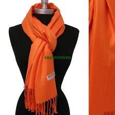 NEW Women Soft PASHMINA SILK Solid Cashmere Wool SHAWL Scarf Stole WRAP Orange