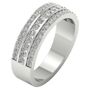 Three Row Anniversary Ring Round Diamond SI1 G 1.10 Carat 14K White Gold 6.30 MM
