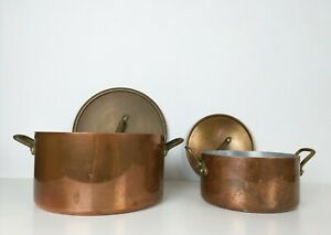 Deux Cocotte casserole cuisine en cuivre estampillee Tournus, Marmite Cuivre