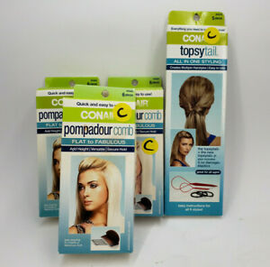 CONAIR POMPADOUR COMB FLAT TO FABULOUS + TOPSYTAIL ALL IN ONE STYLING 4 PACK