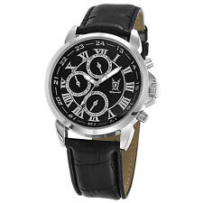 Mens Black Leather Watch Large Dial Multifunction Reloj de Pulsera Hombre Cheap