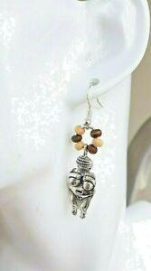 Earrings Venus of Willendof Silver boho festival uk made 925