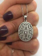 9CT Oro Blanco Diamante Colgante Collar Medallón GH01