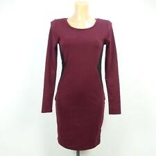 H&M Kleid Dress Bodycon Rot Schwarz Bordeaux Gr. S 36